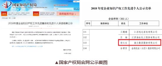 """喜讯丨扬力集团总工程师仲太生荣获""""2018年度企业知识产权工作"""